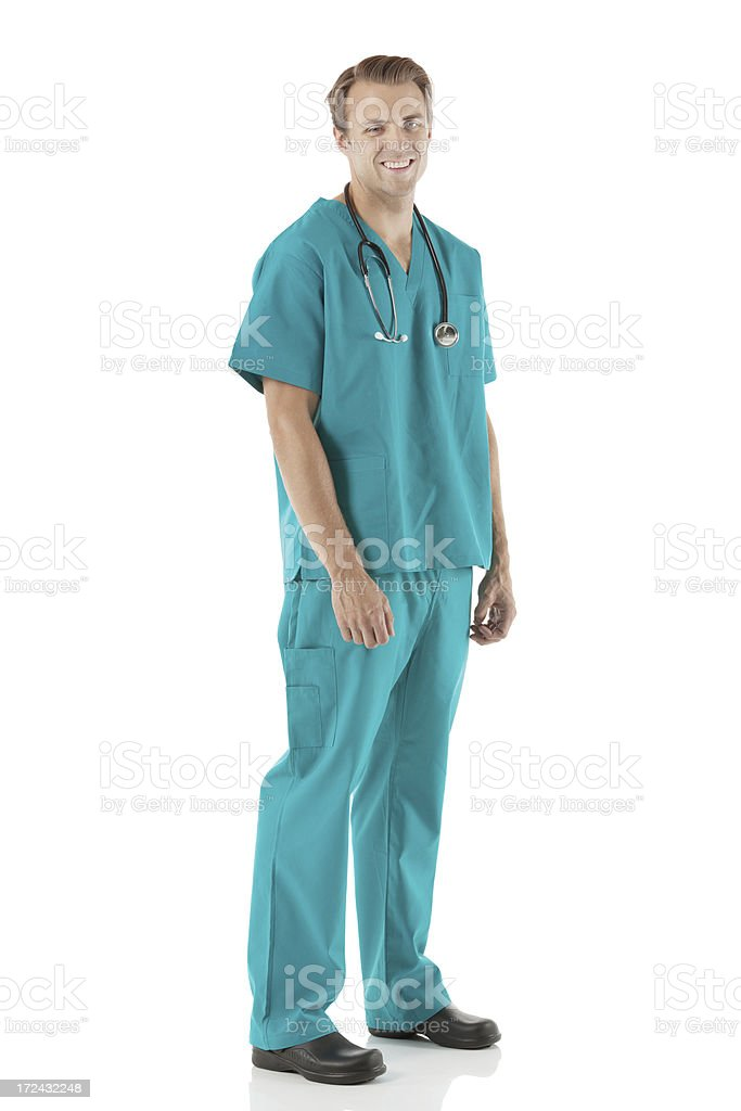 Smiling male nurse standing royalty-free stock photo