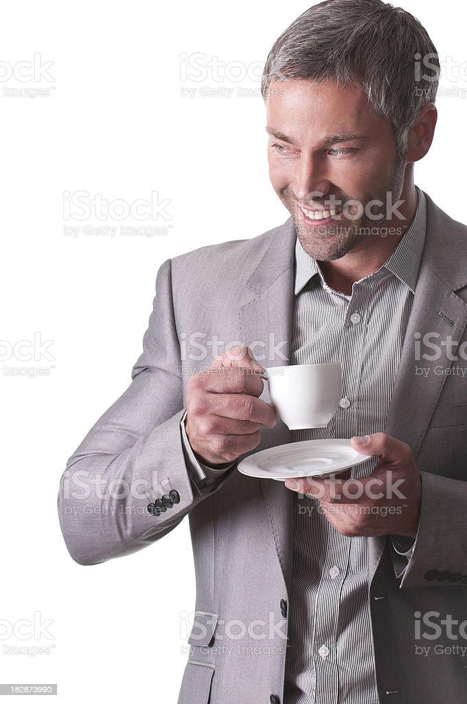 smiling man drinking coffee royalty-free stock photo