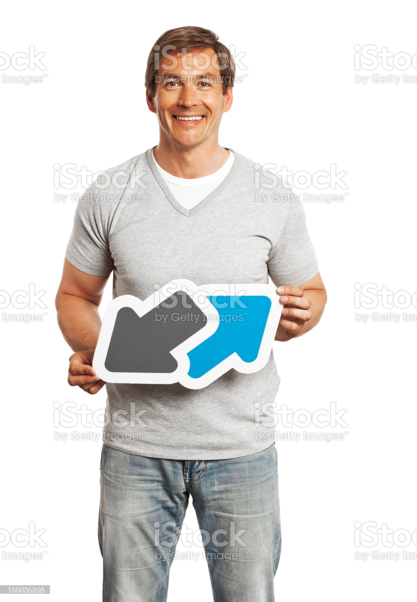 Smiling man holding data trade sign isolated on white background. royalty-free stock photo