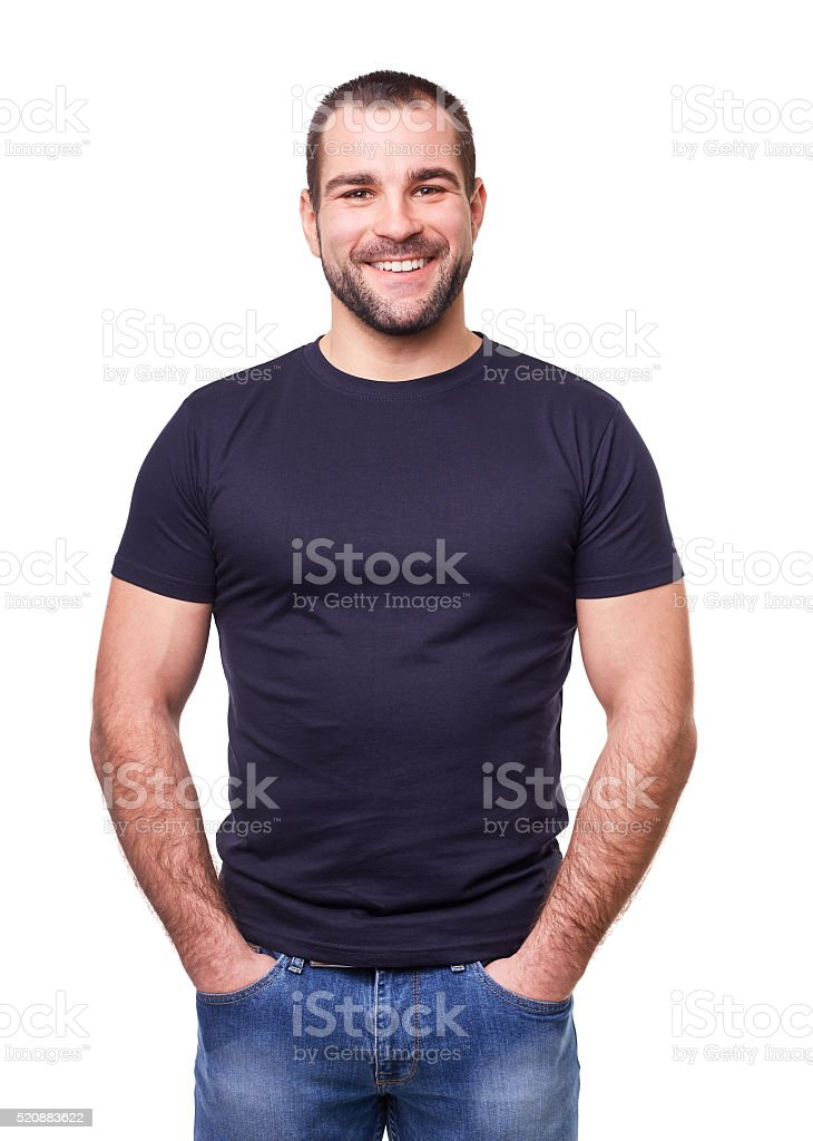 Smiling man in a black t shirt stock photo