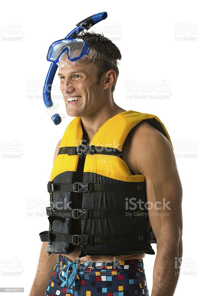 Smiling man in snorkling gear royalty-free stock photo