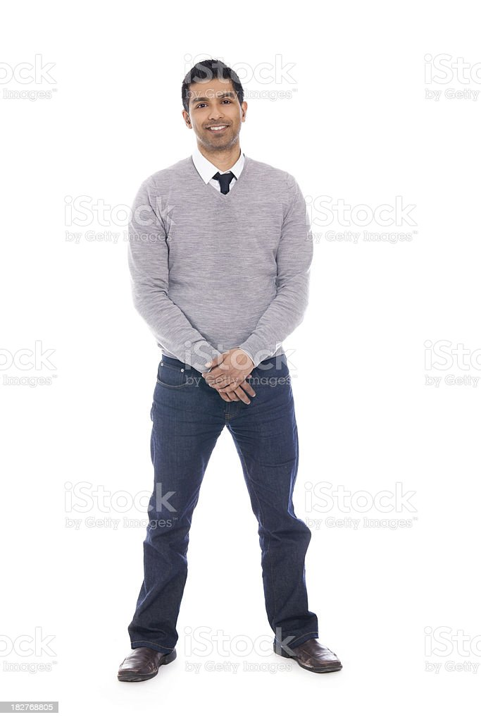 Smiling Man Isolated on White Background - Full Body stock photo