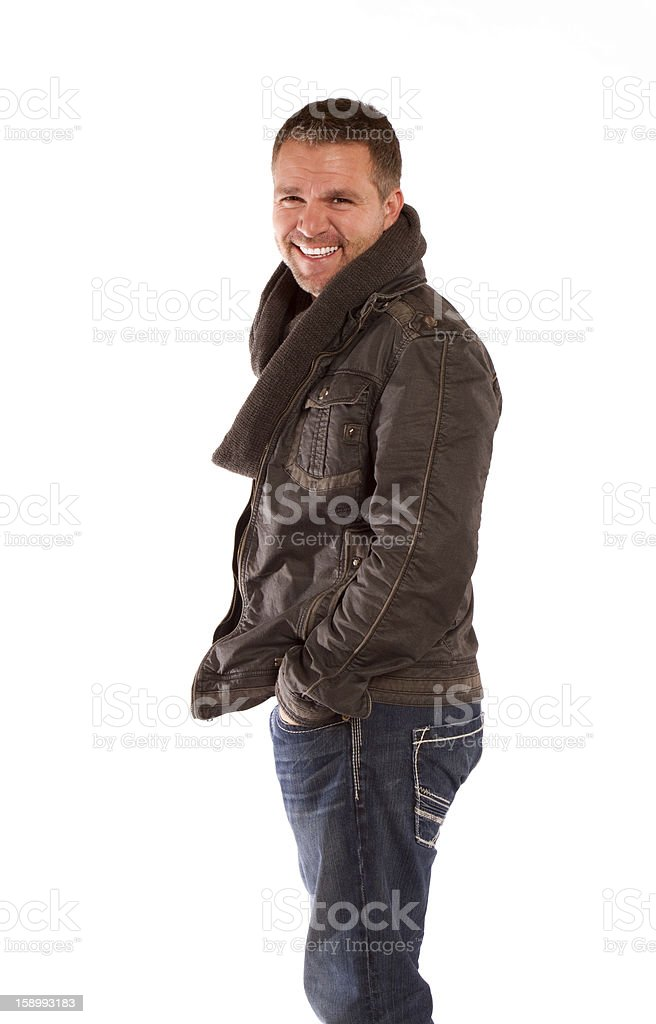 Smiling Man on a White Background royalty-free stock photo