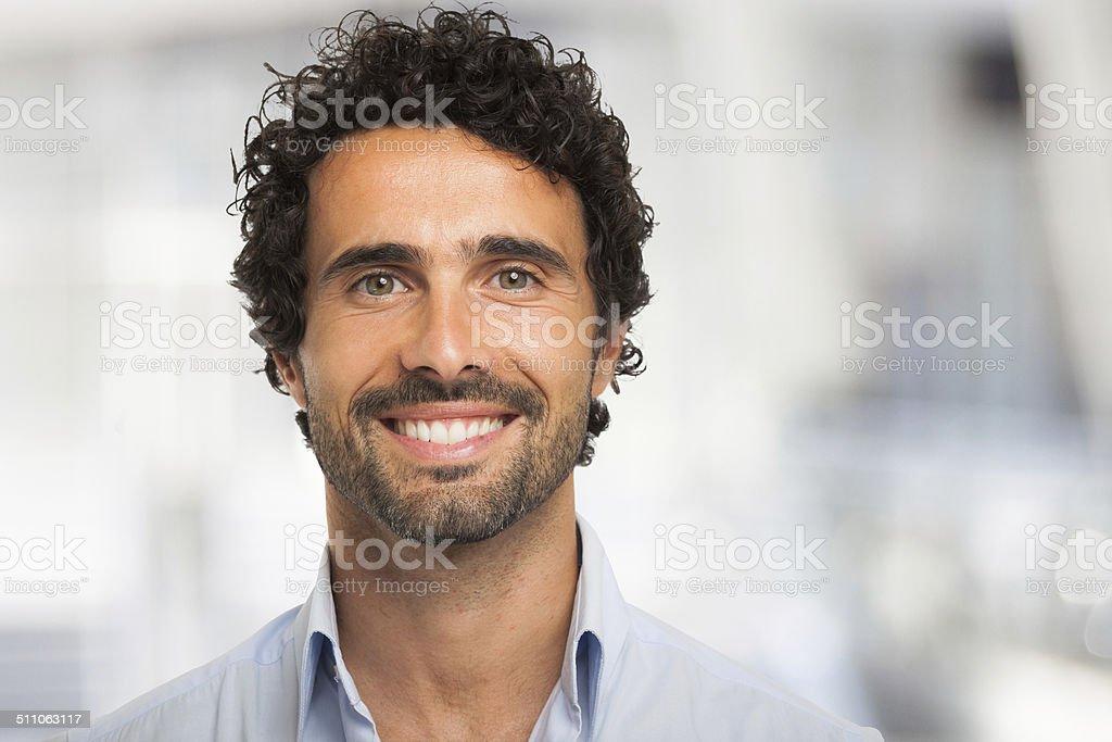 Smiling man portrait stock photo