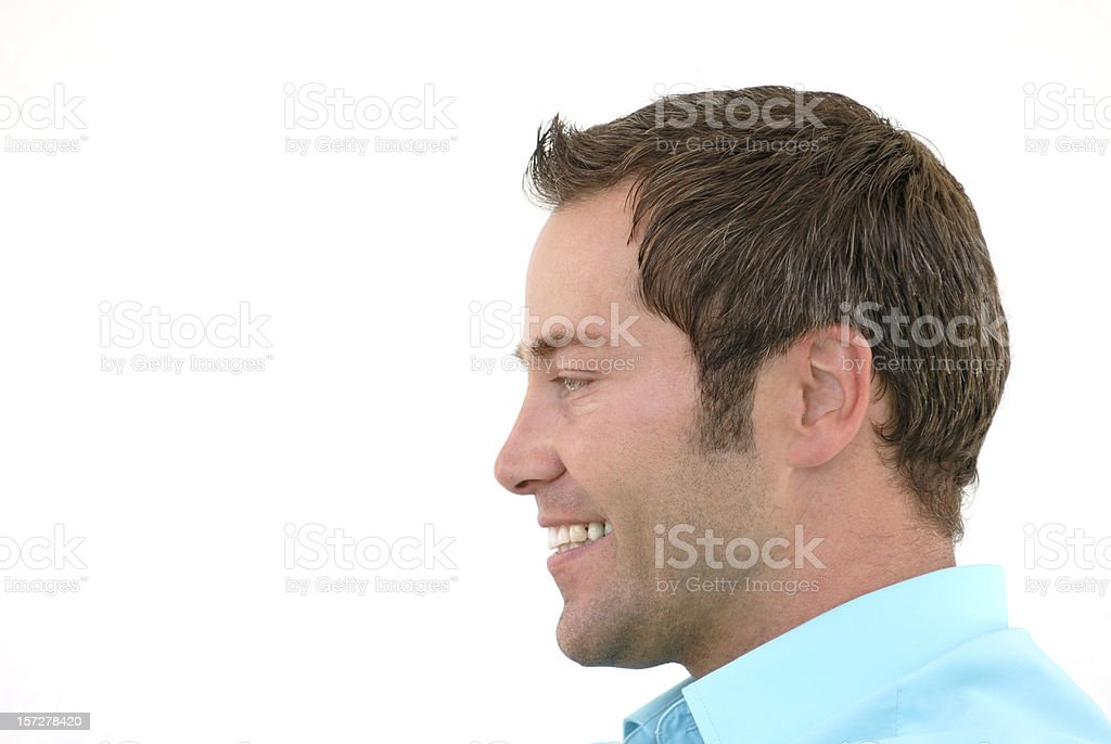 smiling man profile stock photo