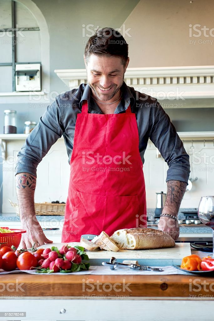 Smiling Man Ready to Cooking stock photo