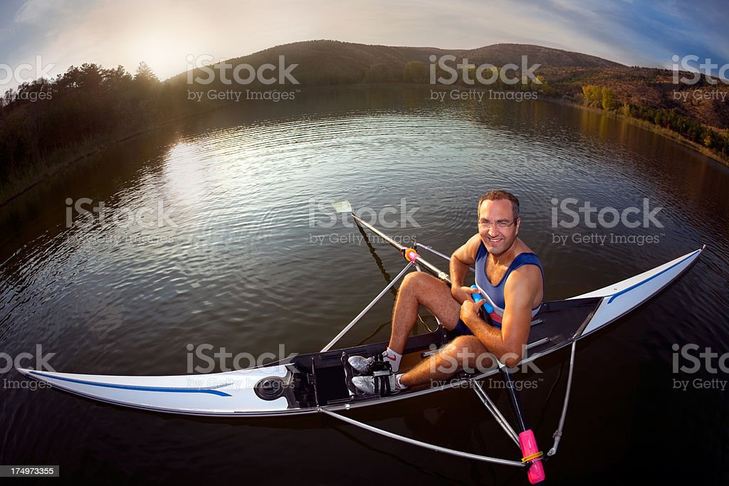 Smiling Man Resting on the Boat stock photo