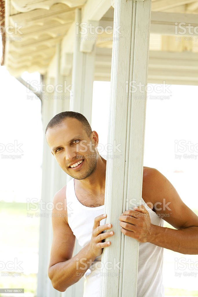 smiling man standing outdoor royalty-free stock photo