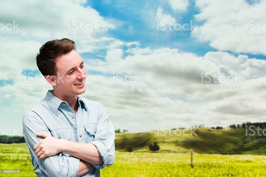 Smiling man standing outdoor stock photo