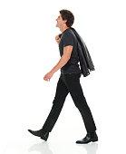 Smiling man walking