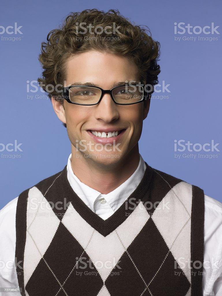 Smiling man wearing a tank top stock photo