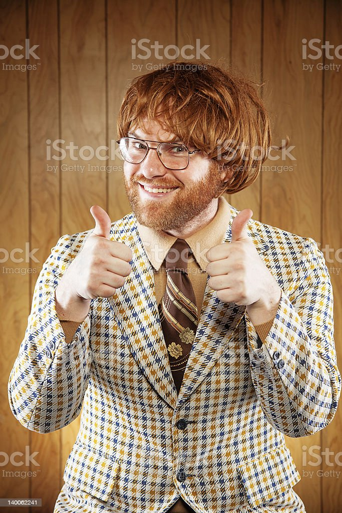 Smiling man wearing clothing from the 60s stock photo