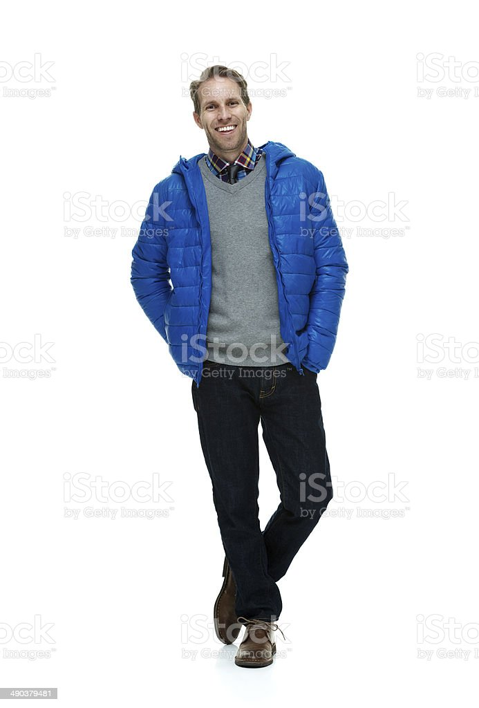 Smiling man wearing sweater and jacket royalty-free stock photo