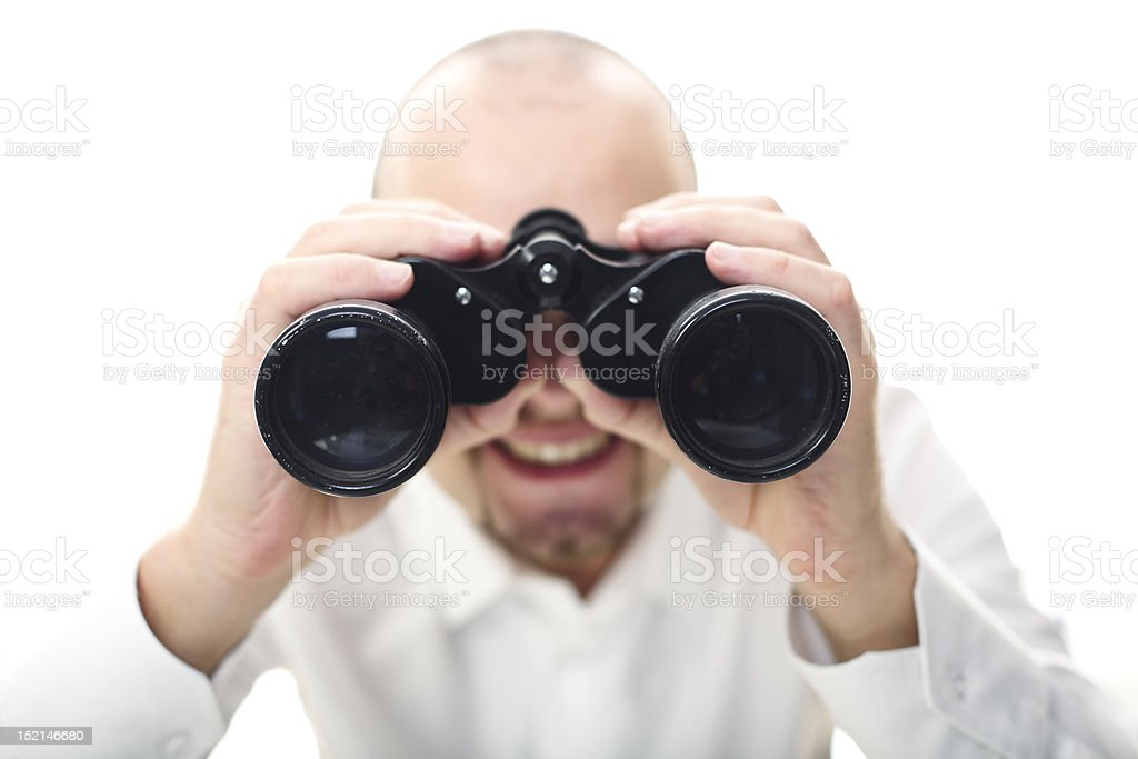 smiling man with binocular royalty-free stock photo