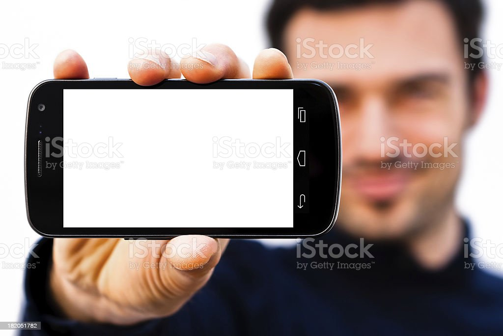Smiling Man with Huge Blank Screen Smartphone royalty-free stock photo