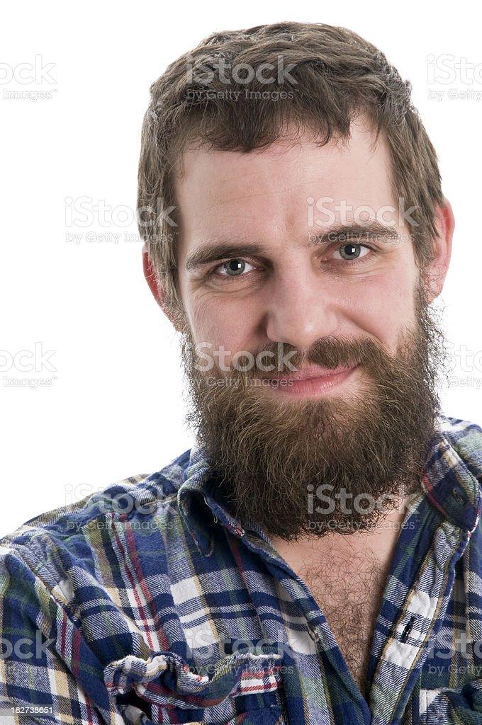 smiling man with long beard close up stock photo