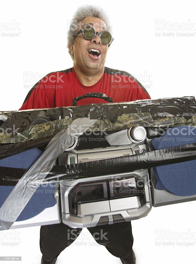 Smiling Man with Radio royalty-free stock photo