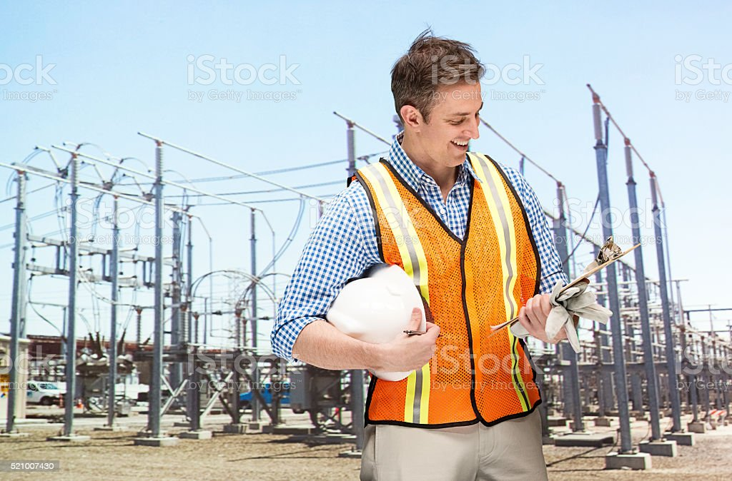 Smiling manager in power station stock photo