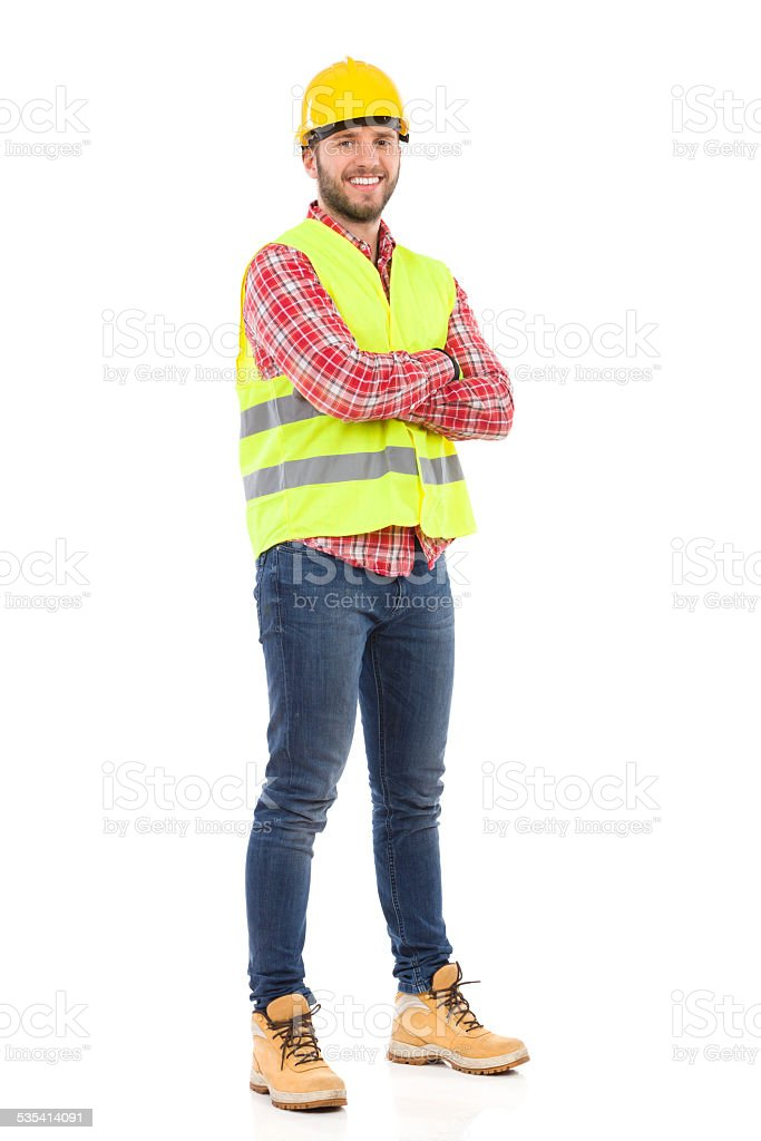 Smiling manual worker. stock photo