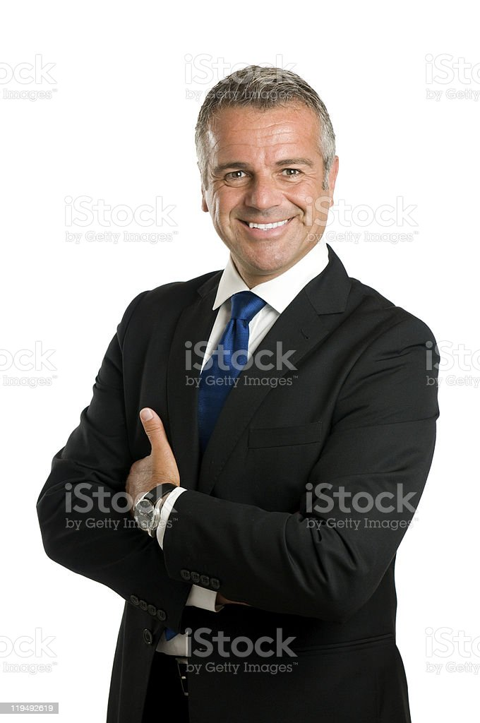 Smiling mature businessman stock photo
