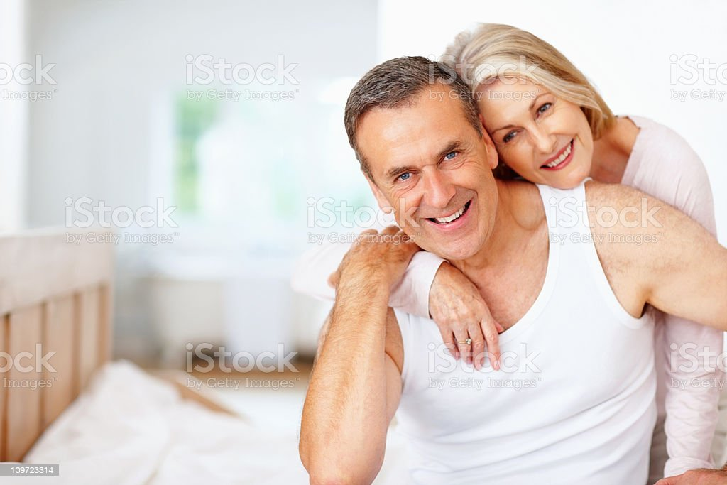 Smiling mature man with wife spending time together royalty-free stock photo