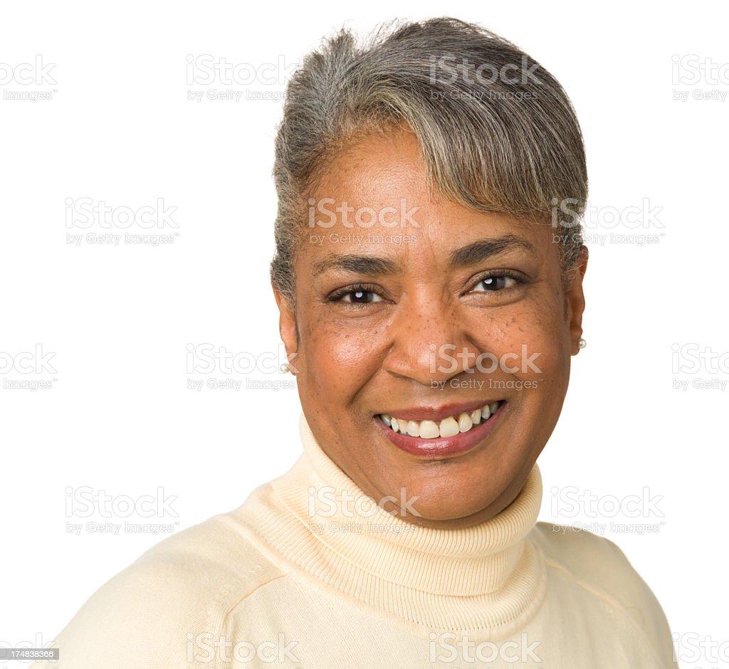 Smiling Mature Woman Headshot Portrait royalty-free stock photo