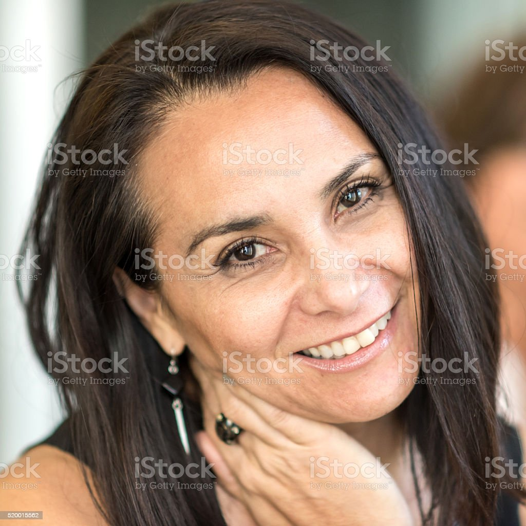 Smiling mature woman stock photo
