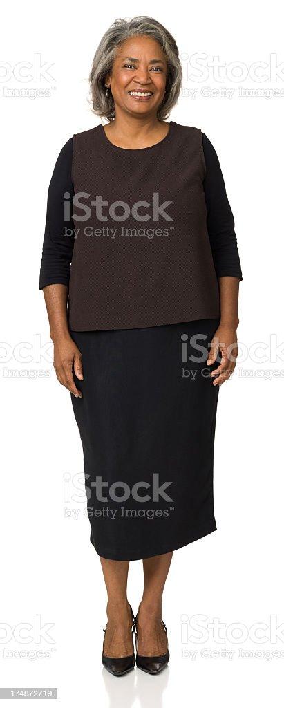 Smiling Mature Woman Standing Portrait stock photo