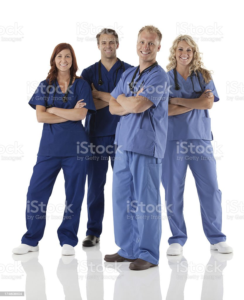Smiling medical professionals team royalty-free stock photo
