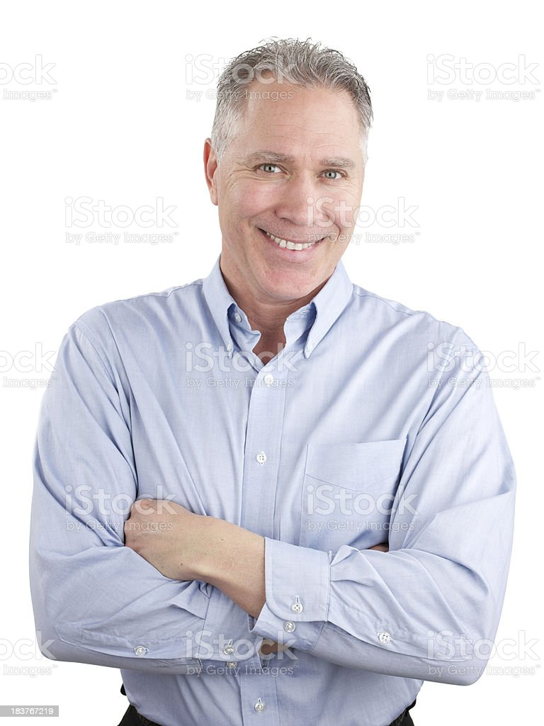 Smiling middle age man with blue shirt royalty-free stock photo