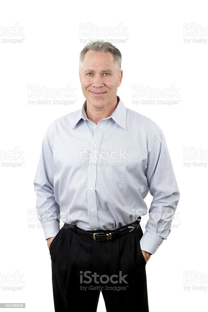 Smiling middle age man with blue stripe shirt royalty-free stock photo