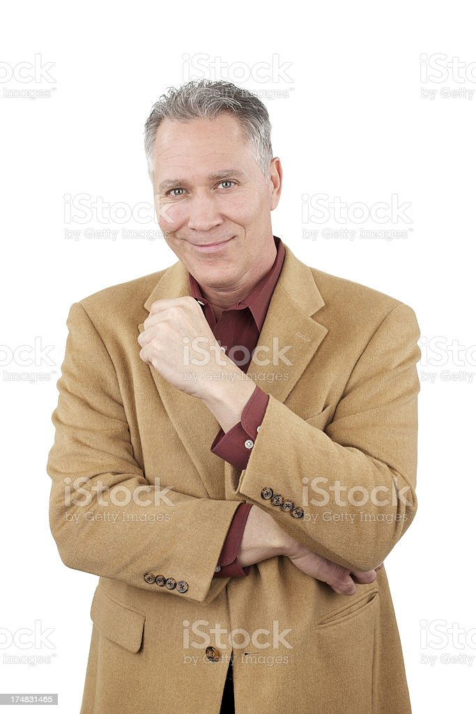 Smiling middle age man with tan camel hair jacket royalty-free stock photo