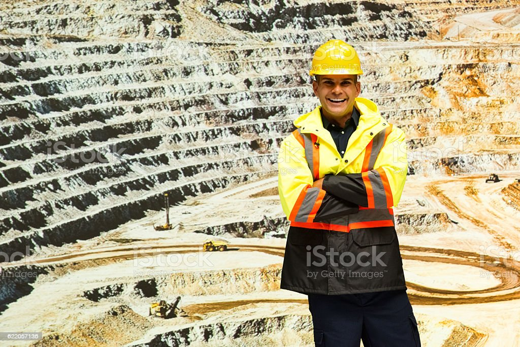 Smiling miner at the mine stock photo