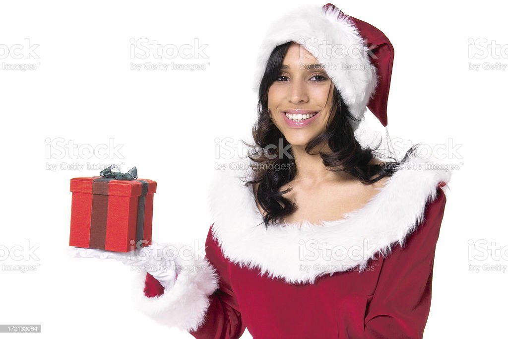 Smiling Miss Santa Claus with Gift Box royalty-free stock photo