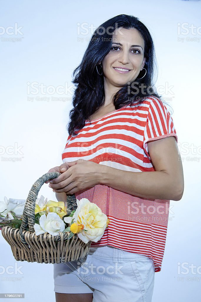 Smiling Model With Roses royalty-free stock photo