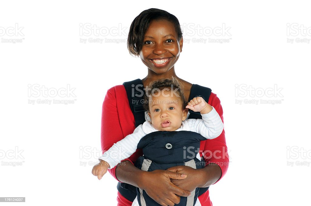 Smiling Mother and her Baby in a Sling royalty-free stock photo