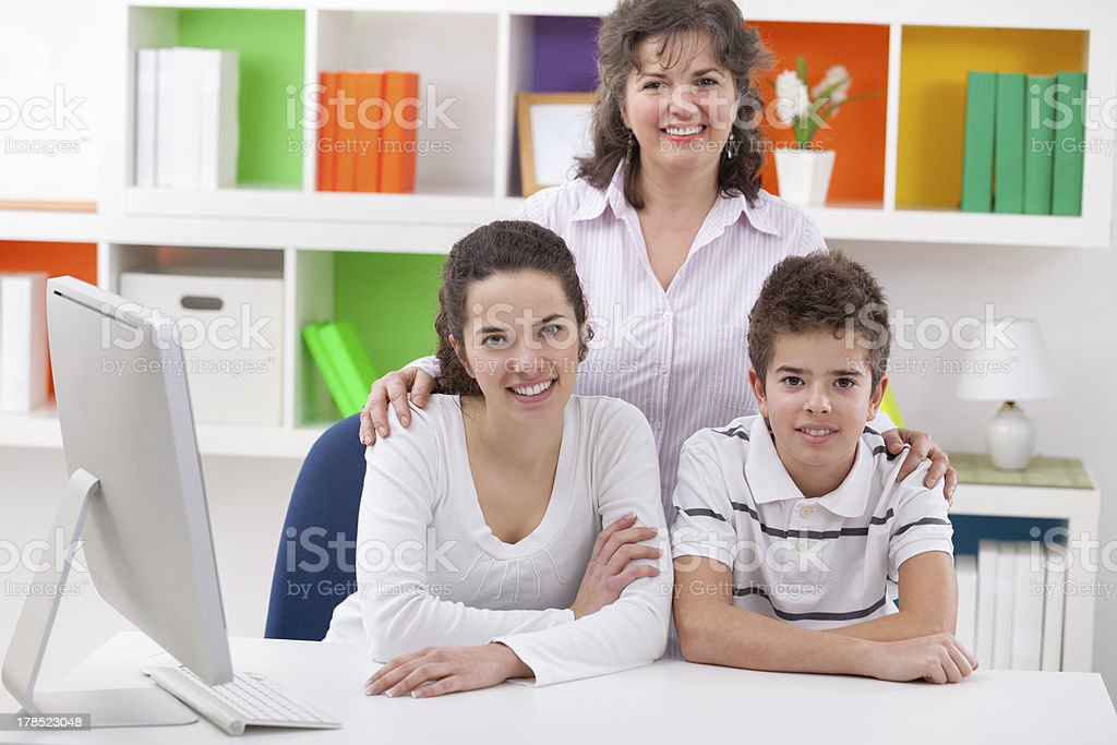 Smiling mother with her children royalty-free stock photo