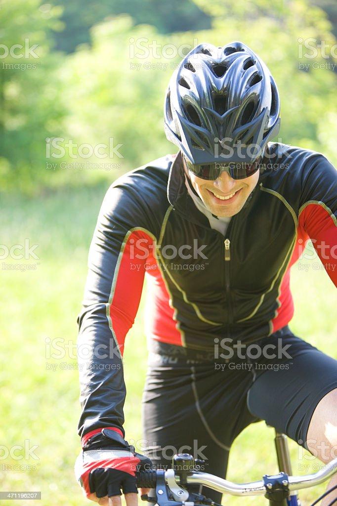 Smiling mountain biker royalty-free stock photo
