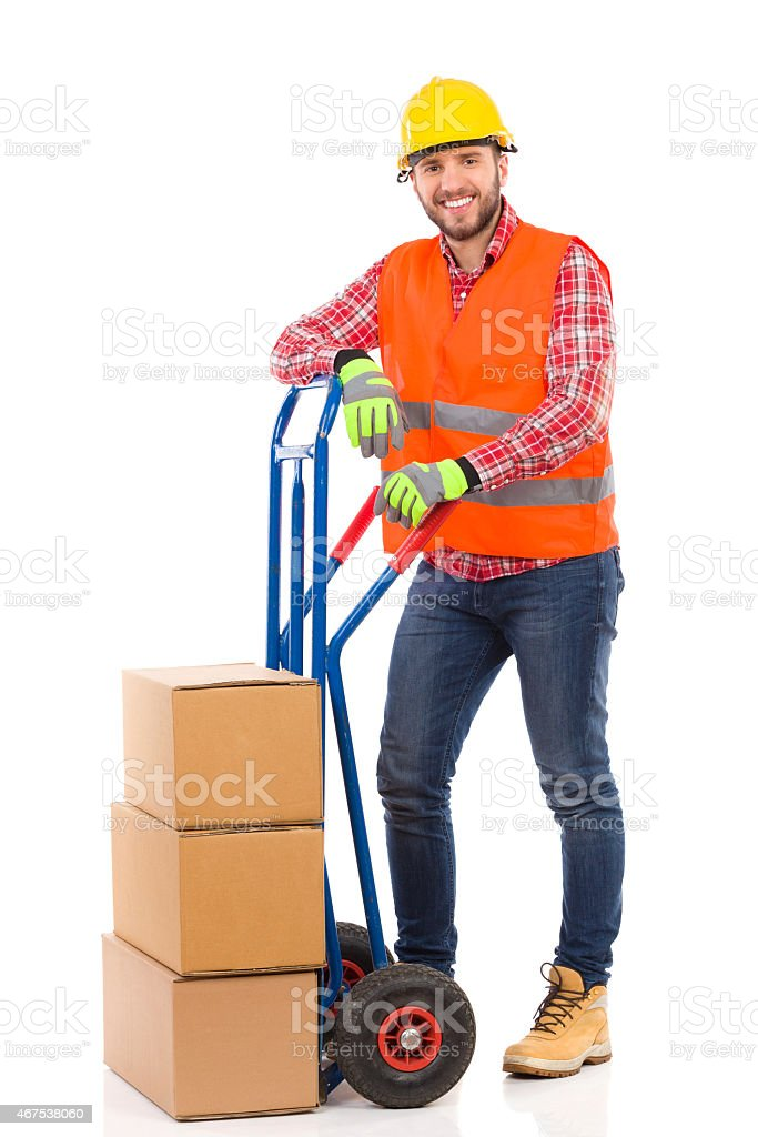 Smiling mover posing stock photo