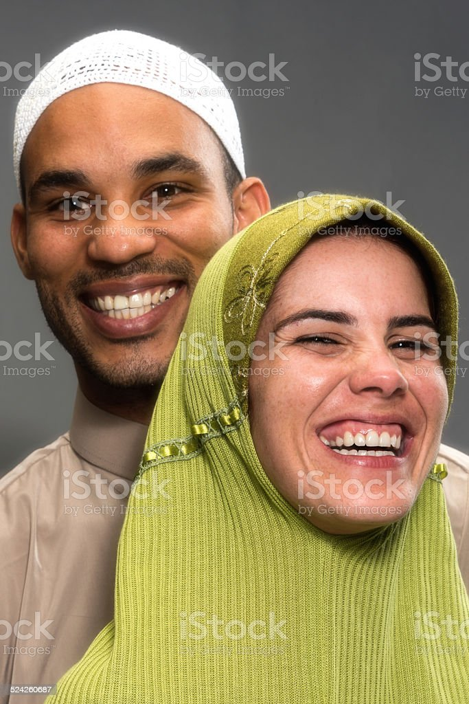 Smiling muslim couple stock photo