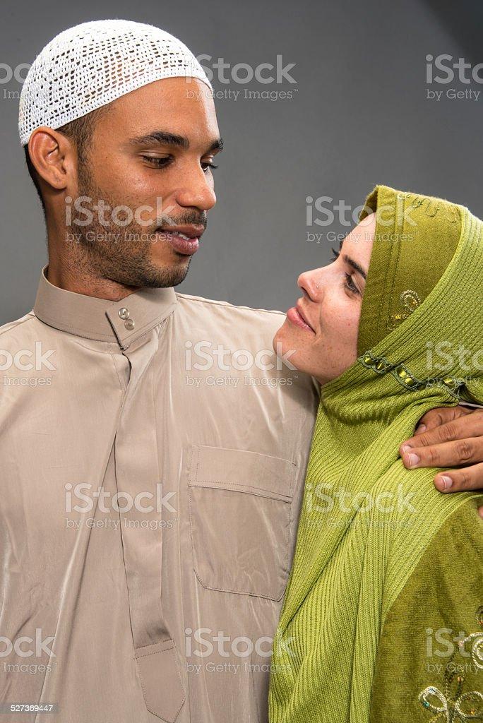 Smiling muslim couple stock photo