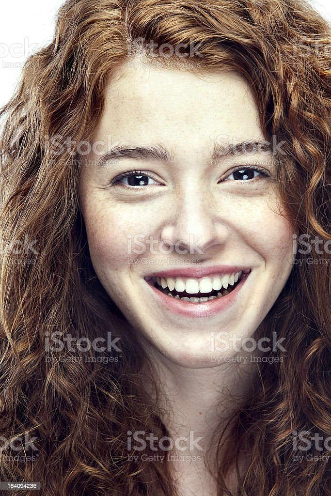 Smiling Natural Beauty Young Woman stock photo