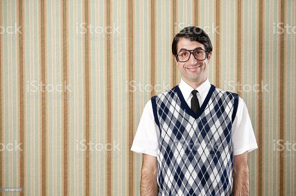 Smiling Nerd In Retro Vest stock photo