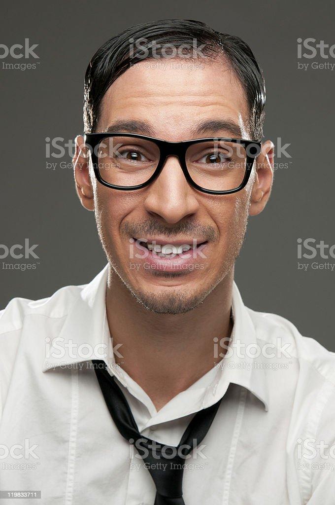 Smiling nerd royalty-free stock photo