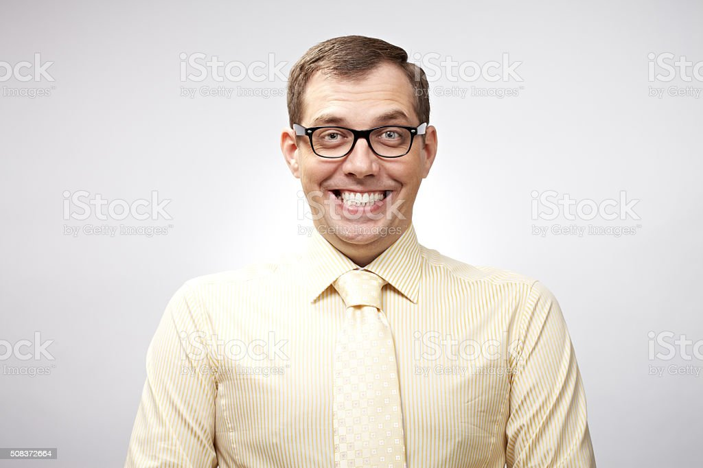 Smiling nerd stock photo