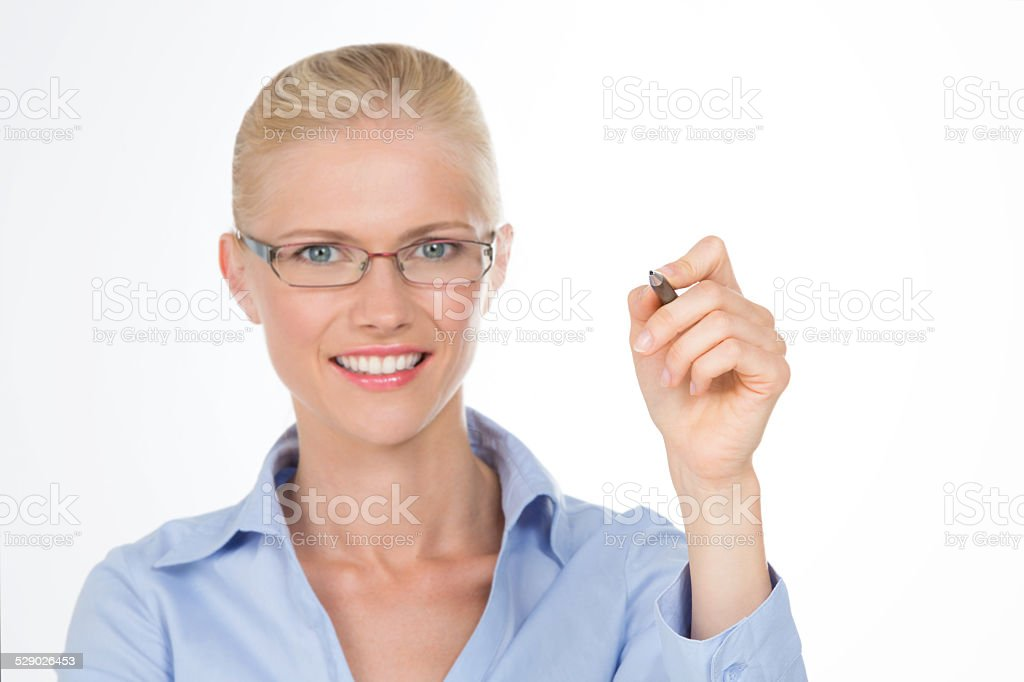 smiling nordic girl asking a question stock photo