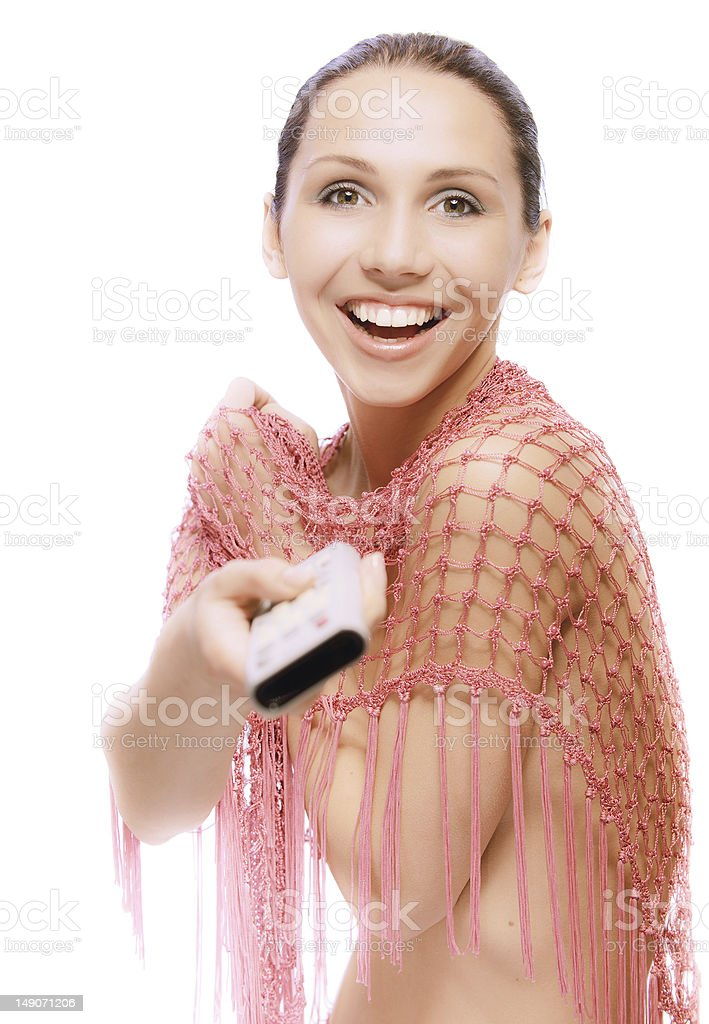 Smiling nude woman with TV console royalty-free stock photo