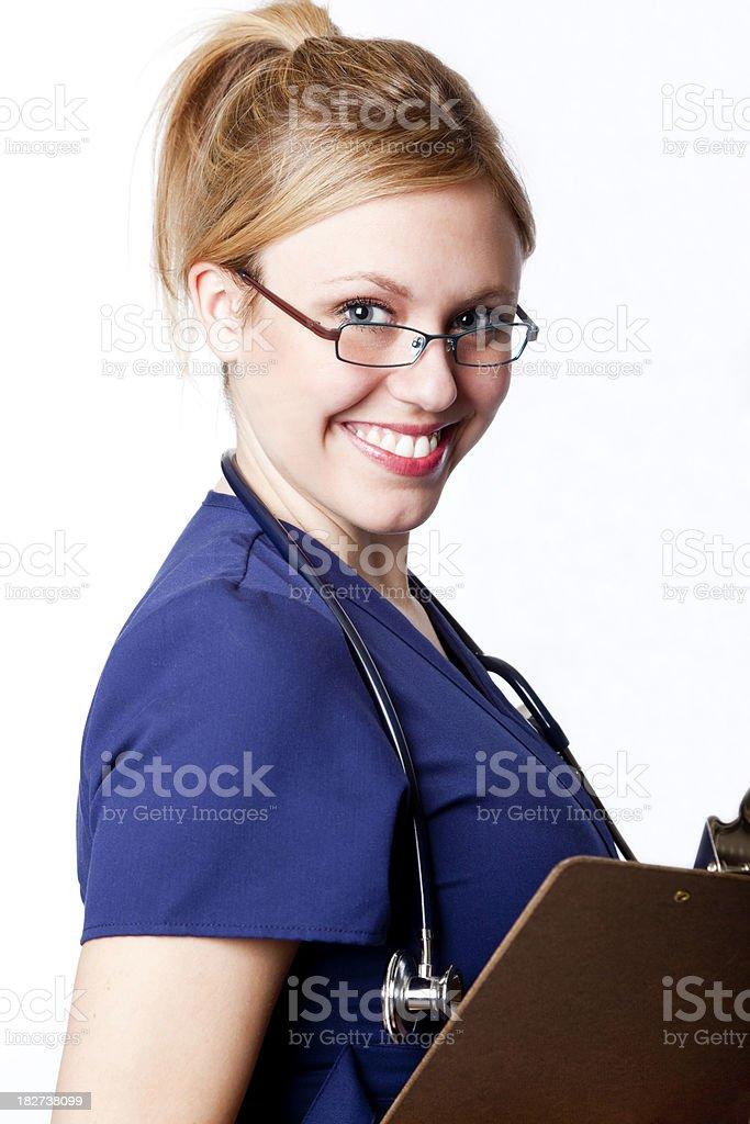 smiling nurse wearing eyeglasses royalty-free stock photo