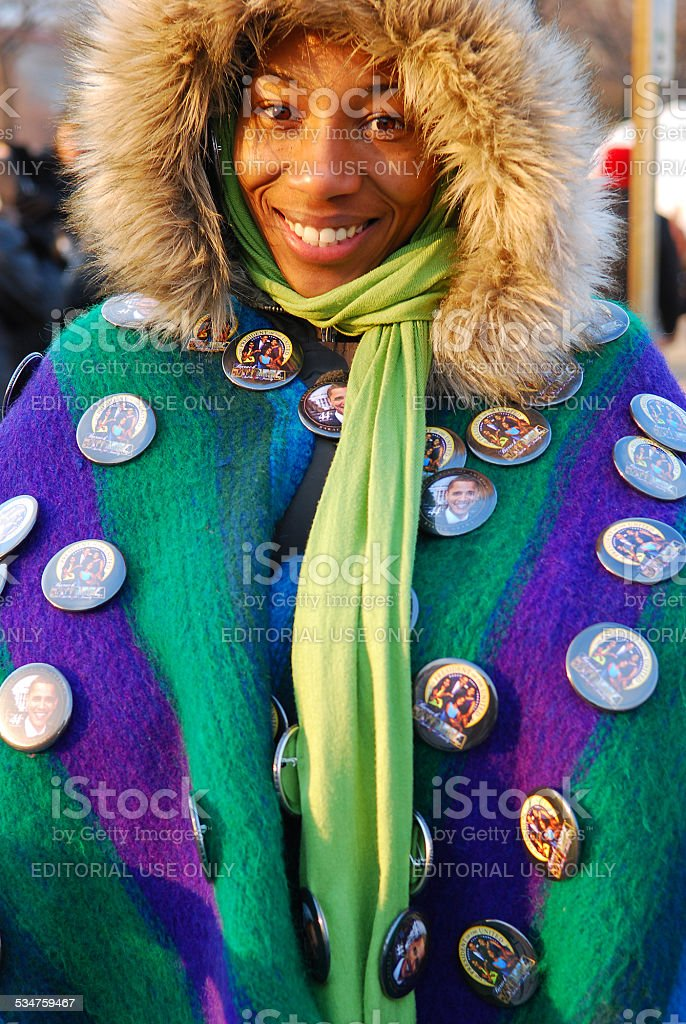 Smiling Obama supporter at 2009 Presidential Inauguration stock photo