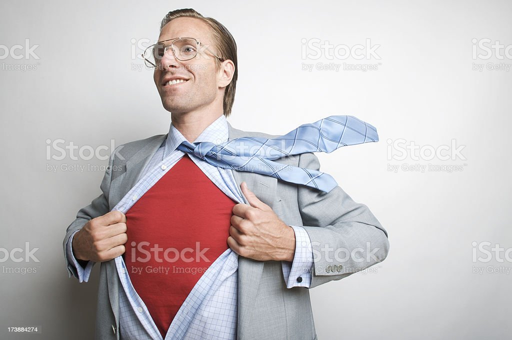 Smiling Office Worker Businessman Superhero royalty-free stock photo